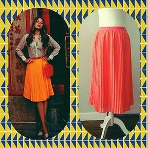 Dresses & Skirts - A New Day Coral Orange Knife Pleated Midi Skirt